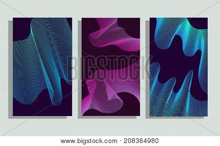 Set of 3 minimalistic vector covers design. Halftone gradients. For posters and more. Cyan and magenta