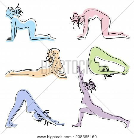 Colour set with beautiful woman in various poses of yoga. Vector set of yoga illustration. Set of Surya Namascar yoga. Woman with dreadlocks yoga class