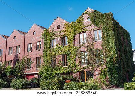 Red brickwall serial houses seen in Berlin, Germany