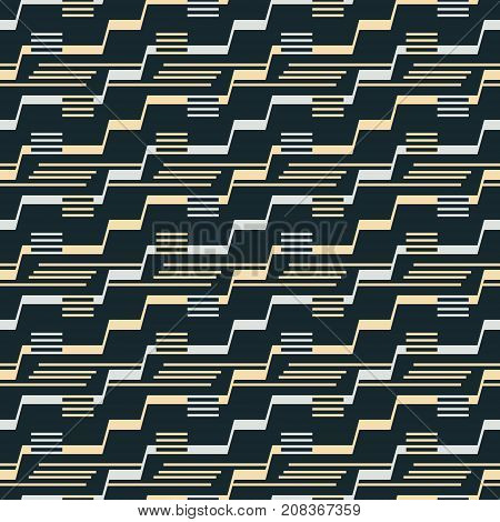 Seamless Pattern Of Stair Step Lines And Parallel Segments