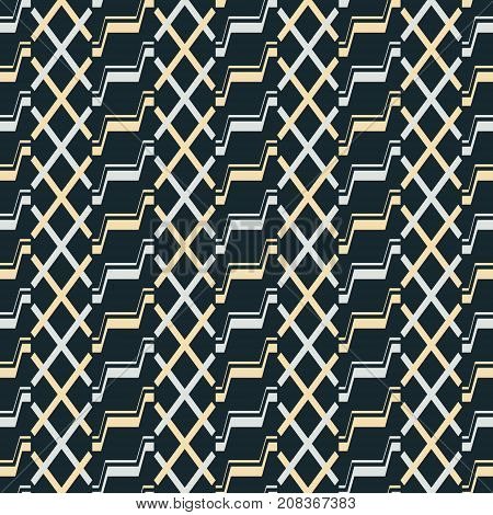 Seamless Pattern Of Stair Step And X Shaped Elements