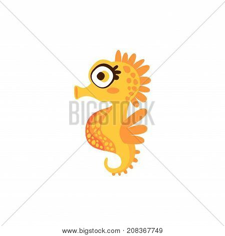 Cute orange seahorse, funny sea creature hand drawn vector Illustration isolated on a white background