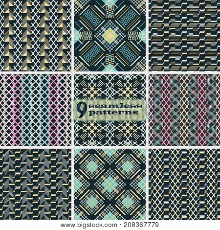 Set of seamless abstract patterns. Criss cross and stair step geometric elements in elegant color palette. Collection of vector prints for fabric, paper and other