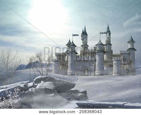 3D rendering of an enchanted fairy tale princess castle in winter.