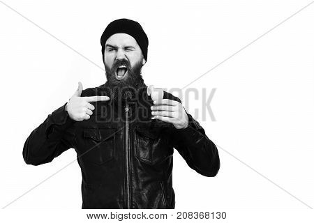 Brutal Caucasian Hipster Holding Alcoholic Beverage Or Fresh Cocktail