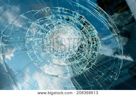 Broken glass of a car after accident