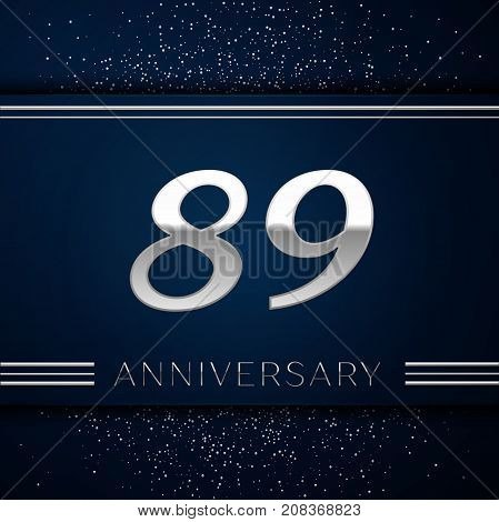 Realistic Eighty nine Years Anniversary Celebration Logotype. Silver numbers and silver confetti on blue background. Colorful Vector template elements for your birthday party