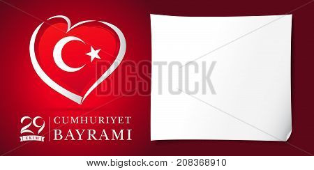 29 ekim Cumhuriyet Bayrami kutlu olsun heart and flag banner red. Translation: 29 october Republic Day Turkey and the National Day in Turkey in national flag color. Vector illustration