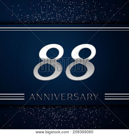 Realistic Eighty eight Years Anniversary Celebration Logotype. Silver numbers and silver confetti on blue background. Colorful Vector template elements for your birthday party