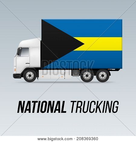 Symbol of National Delivery Truck with Flag of the Bahamas. National Trucking Icon and Bahamian flag