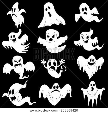 Halloween characters set of scary white ghosts for design isolated on black background such logos. Halloween celebration. Vector illustration