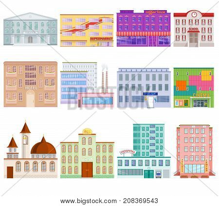 Different city public buildings houses facade flat style architecture modern street apartment vector illustration.. School, hospital, bank