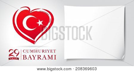 29 ekim Cumhuriyet Bayrami kutlu olsun heart and flag banner white. Translation: 29 october Republic Day Turkey and the National Day in Turkey in national flag color. Vector illustration