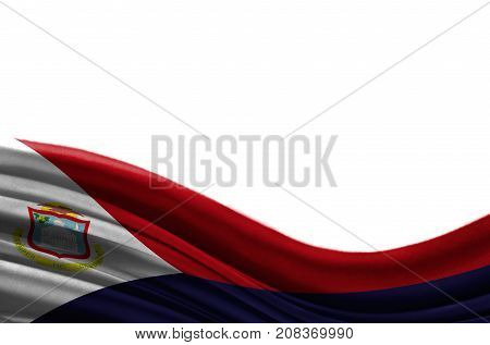 Grunge colorful flag Saint Martin with copyspace for your text or images,isolated on white background. Close up, fluttering downwind.