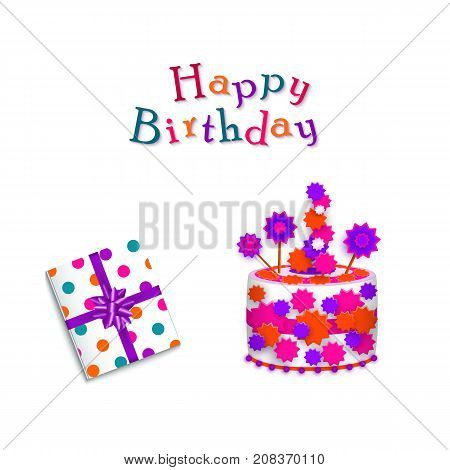 vector cartoon birthday party celebration symbols set. Colored present gift box with purple ribbon and bow and birthday cake, happy birthday inscription. Isolated illustration on a white background.