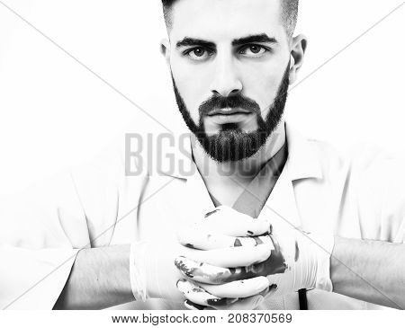 Doctor In Latex Gloves With Beard And Confident Face Expression