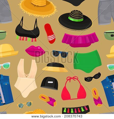 Summer time beach fashion clothes looks design. Beachwear bikini cloth fashion looks vacation lifestyle collection sea party beauty clothes vector illustraton seamless pattern background