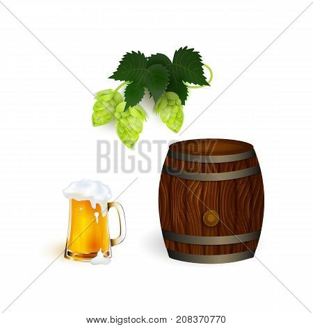 vector realistic beer wooden oak keg barrel with iron rings, glass mug of lager golden drink with thick foam hop cone with leaves set. Ready product mockup. Isolated illustration on a white background
