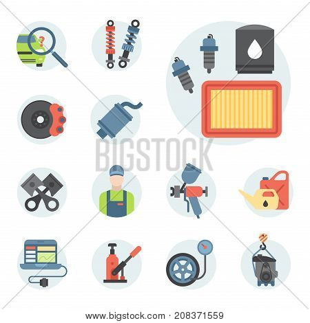Car service parts flat vector illustration. Auto mechanic repair of machines and automobile equipment. Motor diagnostics vector illustration and technician transportation flat icons.