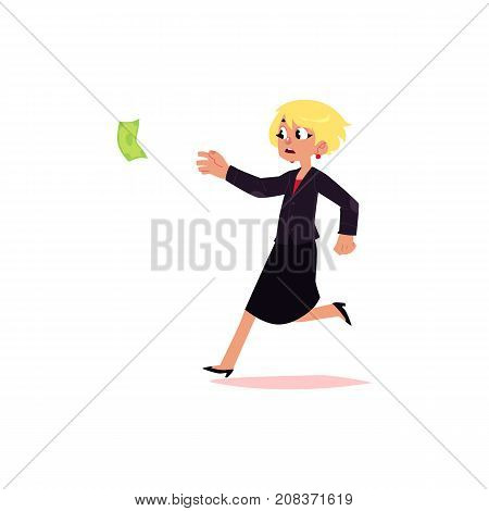 vector flat cartoon girl running for money. Female Clerk, office worker woman chasing, trying to catch for dollar note. Isolated illustration on a white background.