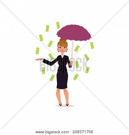 vector flat cartoon girl standing under money rain. Female Clerk, office worker woman catching dollar notes falling from air. Isolated illustration on a white background.