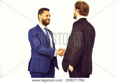 Happy Men In Jacket Hold Hands Each Other In Handshake
