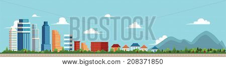 vector flat cartoon panorama - cityscape with different buildings - office center, then comes private houses, cottage with parks and mountines. Illustration on blue background