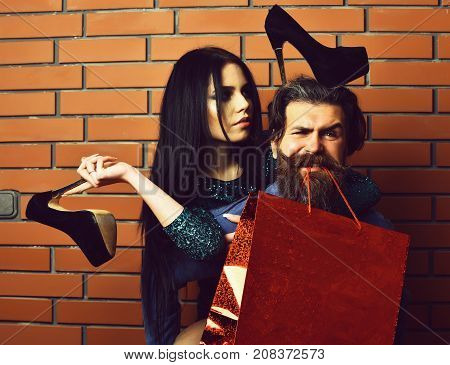 Bearded Man And Pretty Sexy Woman With Shopping Bag, Shoes