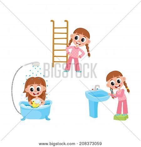 vector flat girl kid doing everyday routine activity set. Child washing in bathtub with duck toy, brushing teeth, making physical exercises . Isolated illustration on a white background.