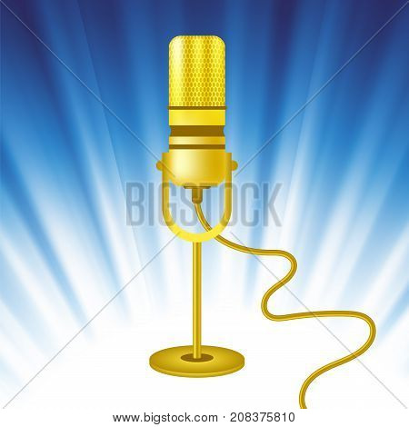 Retro Gold Microphone Icon on Blue Wave Background
