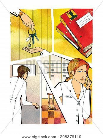 A woman's hand puts the keys in the hand of another woman. The woman opens the door the woman pensively holds a hand at the person a folder with personal affairs of employees. Comic. Raster illustration on a watercolor background