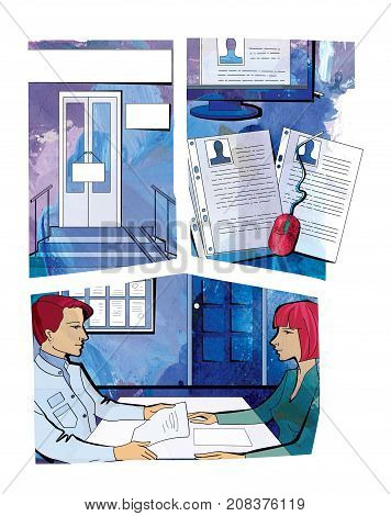 Entrance door with plaques. Files and monitor with personal files of employees. Two women face each other in an interview. Comic. Raster illustration on a watercolor background
