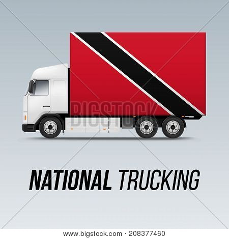 Symbol of National Delivery Truck with Flag of Trinidad and Tobago. National Trucking Icon and flag colors