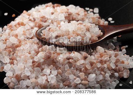 Salt With Spoon On Black