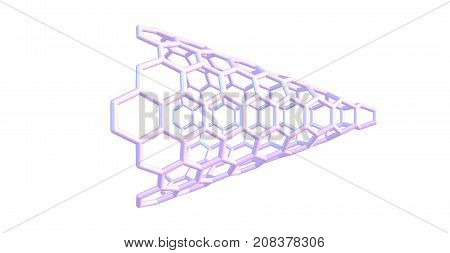 Carbon Nanocone Molecular Structure Isolated On White