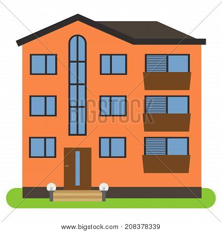 Private house with a brown roof and orange walls on a white background. Vector illustration.