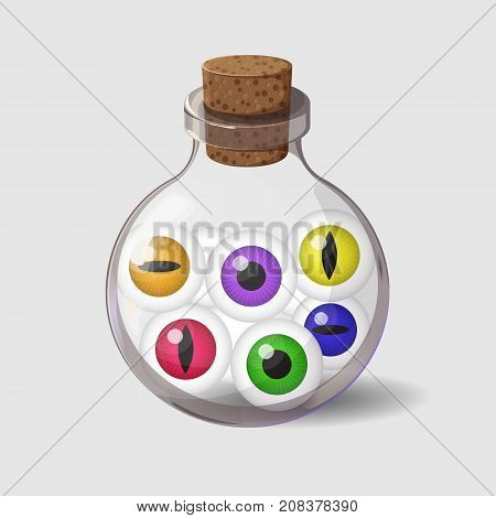 Bottle with eyes. Game icon of magic ingredient in simple cartoon style. Bright design for app user interface. Life, love, blood, rage, fury, damage. Vector illustration. Icons Collection.