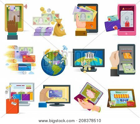 Online payment devices icons vector smartphone transaction ecommerce wallet wireless connection banking card credit online pay shopping