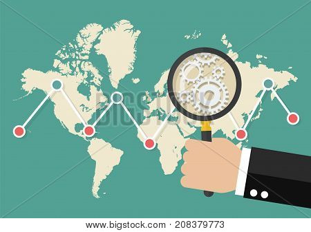 Magnifying glass scan stock market graph with world map. Data analysis global trend