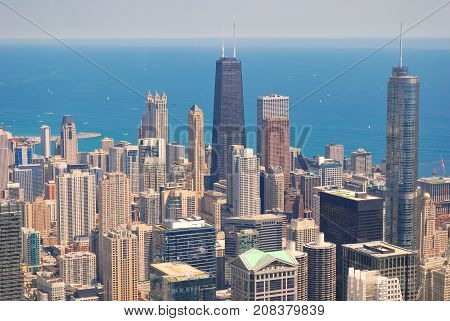 Chicago Skyline from above from Skydeck Tower.