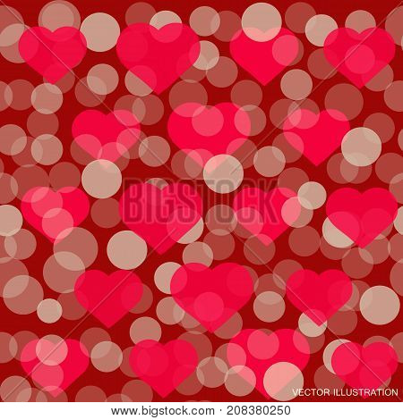 Hearts pattern for Valentine Day greeting card design. Romantic illustration for valentines day .Vector illustration.