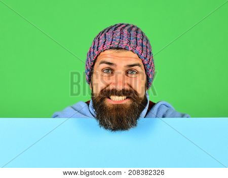 October And November Sale. Hipster With Beard And Smiling Face