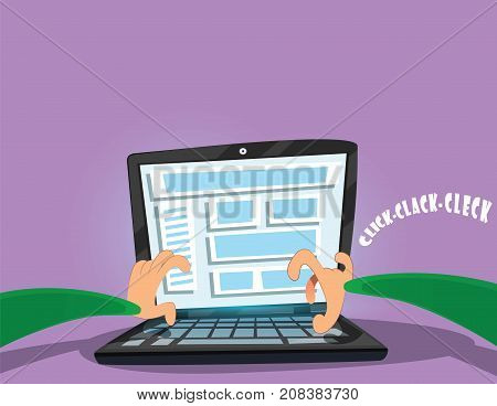 Two hands typing on laptop at workplace. Working in home office, freelance, typing, vector cartoon