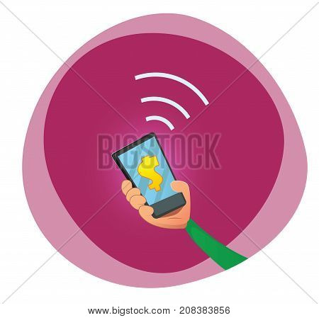Hand holding mobile phone. Mobile payments.Transaction and paypass and NFC. Vector cartoonillustration