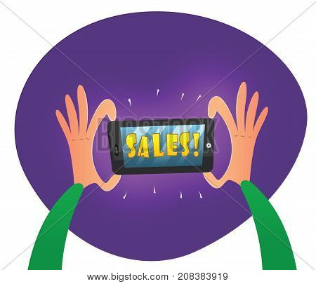 Hands holding mobile phone. Big sale banner template. Sale and discounts concept. Vector cartoon poster
