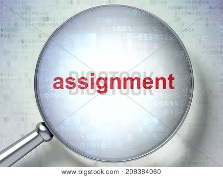 Law concept: magnifying optical glass with words Assignment on digital background, 3D rendering