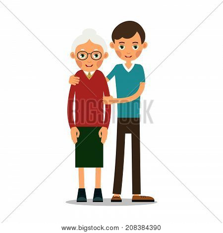 Young boy helps an old woman with a cane hugging him and supporting him by the hand. Illustration in flat style. Isolated. Vector.