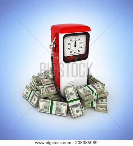 Retro Fuel Pump Surrounded By 100 Dollar Bankrolls Concept Of Gasoline Prices Retro Fuel Pump In Pil