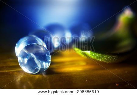crystal ball near the leaf abstract background