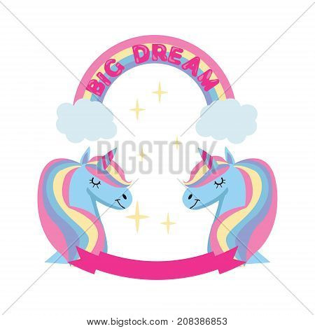 Dream big Cute vector card with unicorn. Fairytale. Magic unicorn and rainbow poster greeting card background with Unicorn head rainbow and stars